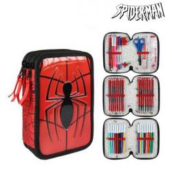 Pochette à crayons triple Spiderman 8492 Rouge