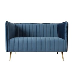 2-Seater Sofa Art Deco Lines (126 x 73 x 78 cm) Blue