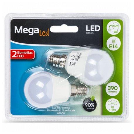 Lampadina LED Sferica MegaLed P45-5 5W E14 4000K 390 lm Luce bianca (2 Pcs)