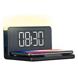 Reloj Despertador con Cargador Inalámbrico Qi Negro
