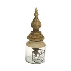 Glass Jar Elixir Mango wood (17 X 17 x 46 cm)
