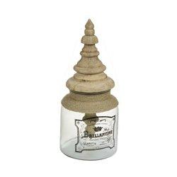 Glass Jar Brillantine Mango wood (17 X 17 x 38 cm)