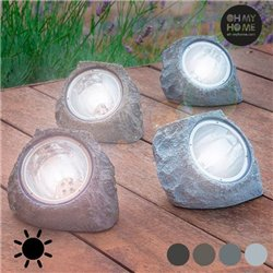 """Piedra Artificial Solar Oh My Home (4 LED) """"Gris Oscuro"""""""