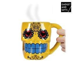 Mexican Skull Ceramic Mug Yellow