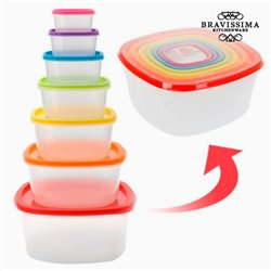 Food Storage Containers with Coloured Lids (7 pieces)