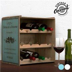 Vintage Coconut Wooden Wine Rack Blue