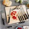 Jeu de Couteaux avec Aiguiseur et Table en Bois (11 pièces)