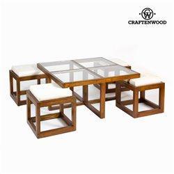 Mesa centro con 4 taburetes - Colección Serious Line by Craftenwood