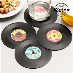 Retro Vinyl-Schallplattenuntersetzer (4er Pack)