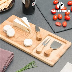 TakeTokio Bamboo Cheese Board with Knives (4 pieces)