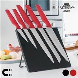Bravissima Kitchen Messer mit Magnethalter (6 Teile) Rot