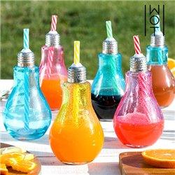 Wagon Trend Farbige Glühbirne Trinkgläser mit Strohhalmen 250 ml (6er Pack)