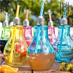 Wagon Trend 400 ml Coloured Light Bulb Drinking Glasses with Straws (pack of 6)