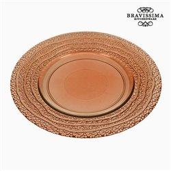 Assiette Plate en Verre Recyclé Corail (20 x 20 x 2 cm) by Bravissima Kitchen