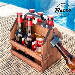 Flaschenträger aus Holz mit Eingebautem Flaschenöffner