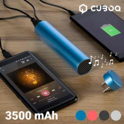 Chargeur de Batterie USB avec Haut-Parleur CuboQ 3500 mAh Bleu