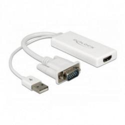 DELOCK Adaptador VGA a HDMI con Audio 62460 25 cm Blanco