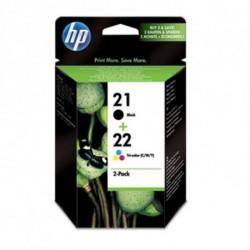 HP 21/22 Original Noir, Cyan, Magenta, Jaune Multipack 2 pièce(s) SD367AE