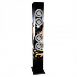 iWown Torre de som com microfone para karaoke 4 x 3W USB/SD/MMC