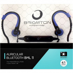 Brigmton BML 11 auriculares para móvil Monoaural Dentro de oído Negro, Azul