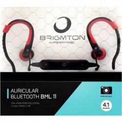 Brigmton BML 11 auriculares para móvil Monoaural Dentro de oído Negro, Rojo