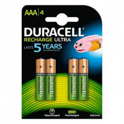 DURACELL Rechargeable Batteries DURDLLR03P4B HR03 AAA 800 mAh (4 pcs)