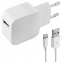 KSIX Caricabatterie da Parete + Cavo Lightning MFI USB 1 m 100-240 V 5 V 2,4 A Bianco