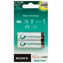 Sony Akkus Ni-MH, AA, 2500 mAh NH-AAB2GN 1,2 V 2500 mAh (2 pcs) Weiß Grün
