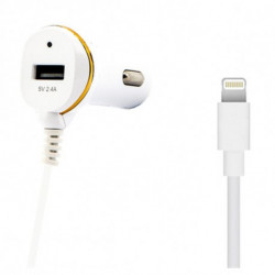 Chargeur de voiture Ref. 138215 USB Cable Lightning Blanc