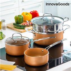 Batería de Cocina con Vaporera Copper-Effect InnovaGoods (6 Piezas)
