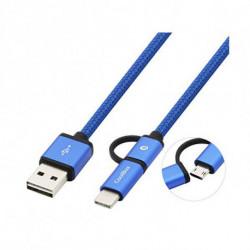 CoolBox COO-CAB-U2MC-GR USB Kabel 1 m USB A USB C/Micro-USB B Grau