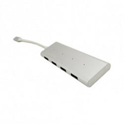 CoolBox COO-HUC4U3 hub & concentrateur USB 3.0 (3.1 Gen 1) Type-C 5000 Mbit/s Aluminium