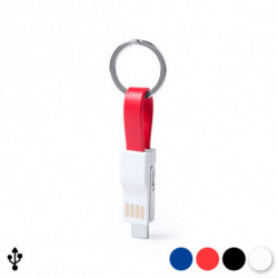 Keyring with Type C Micro USB Cable and Lightning Cable 145969 Red
