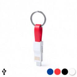 Llavero con Cable Micro USB a Tipo C y Lightning 145969 Rojo