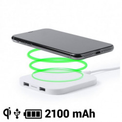 Cargador Inalámbrico para Smartphones Qi 2100 mAh USB 145764 Blanco