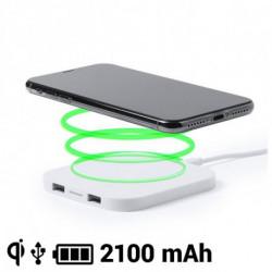 Wireless Smartphone Qi Ladegerät 2100 mAh USB 145764 Weiß