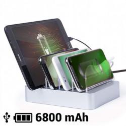 Cargador USB para Cuatro Dispositivos Móviles 6800 mAh 145769 Gris