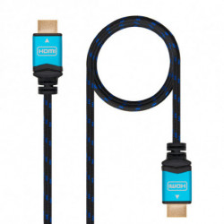 Nanocable Cable HDMI V2.0 4K@60GHz 18 Gbps A/M-A/M, negro, 0.5 m.