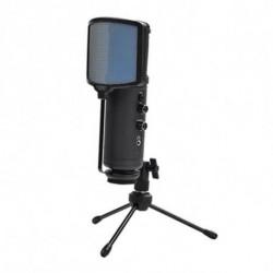 KEEP OUT Tischaufsteller fürs Mikrofon XMICPRO USB Streaming LED Schwarz