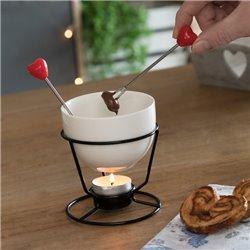 Service Mini Fondue à Chocolate Hearts (4 Pièces)