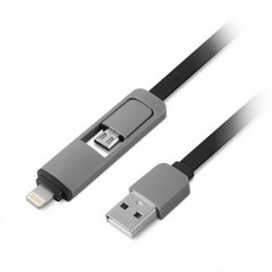 1LIFE USB to Lightning Cable 1IFEPA2IN1FLAT (1 m) Black Grey