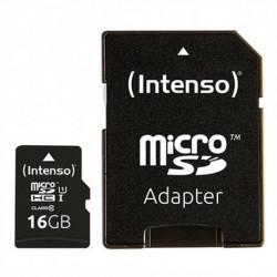 INTENSO Tarjeta de Memoria Micro SD con Adaptador 34234 UHS-I Premium Negro 16 GB