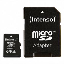 INTENSO Mikro SD Speicherkarte mit Adapter 34234 UHS-I XC Premium Schwarz 64 GB