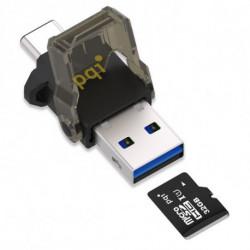 PQI Adattatore Micro SD OTG con USB-C Connect 312 Nero