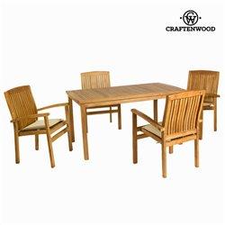 Tisch-Set mit 4 Stühlen Teakholz (150 x 90 x 75 cm) by Craftenwood