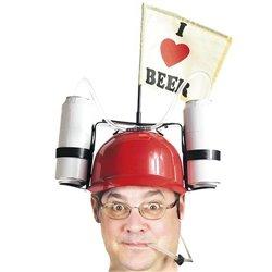 I Love Beer Helm mit Getränkehaltern Rot