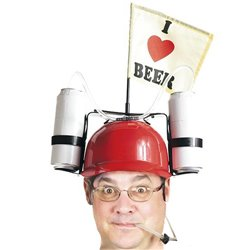 "I Love Beer Helmet with Drink Holders ""Light Blue"""