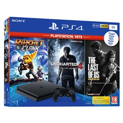 PlayStation 4 Slim + Ratchet & Clank + Uncharted 4 + The Last of Us Sony Nero