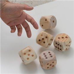Jogo de Dados Gigantes de Madeira (5 Peças)