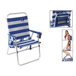 Sedia Pieghevole 117434 Bianco Azzurro
